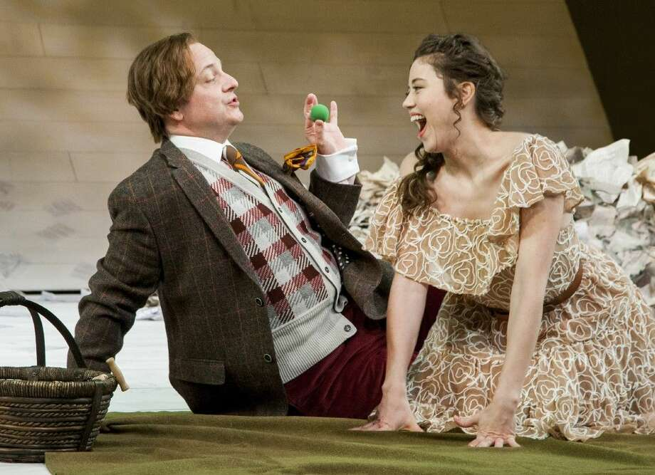 """From left to right, Jeffrey Bean as Touchstone and Nicole Rodenburg as Audrey in the Alley Theatre's production of """"As You Like It."""" """"As You Like It"""" runs at the University of Houston through Feb. 22. For more information visit www.alleytheatre.org."""