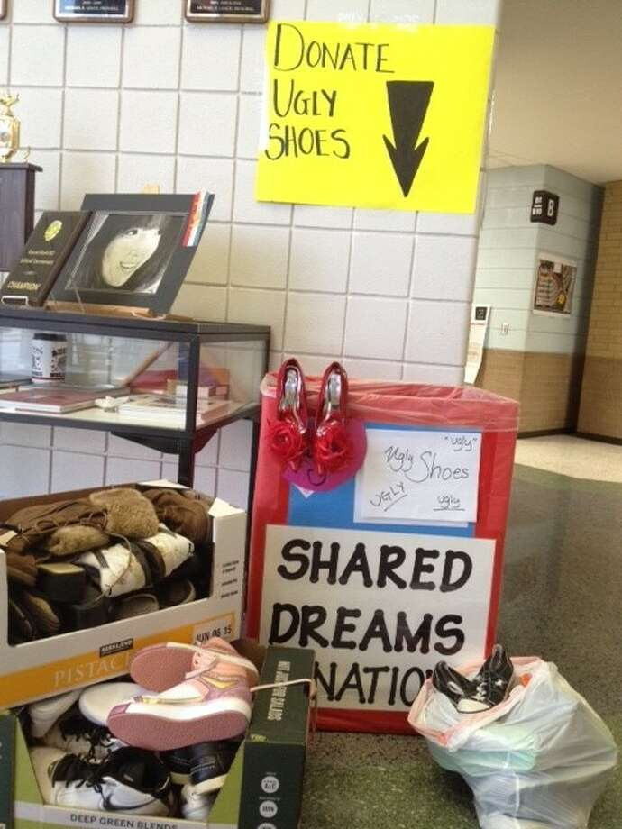 Shared Dreams' shoe collection box at Austin High School. Photo: Submitted Photo