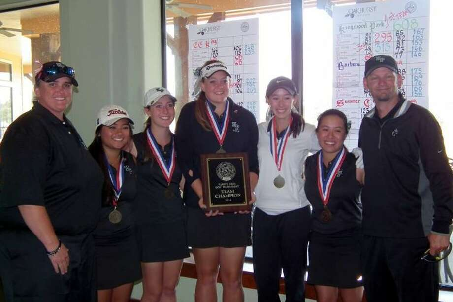 The Kingwood Park girls golf team won the District 19-4A title on Tuesday. Pictured is: Coach Angela Chancellor, Hanna Alberto, Emily Dearman, Sydney Hallmark, Lexi Brooks, Tori Gatling and Coach Jason Watson. Photo: Picasa