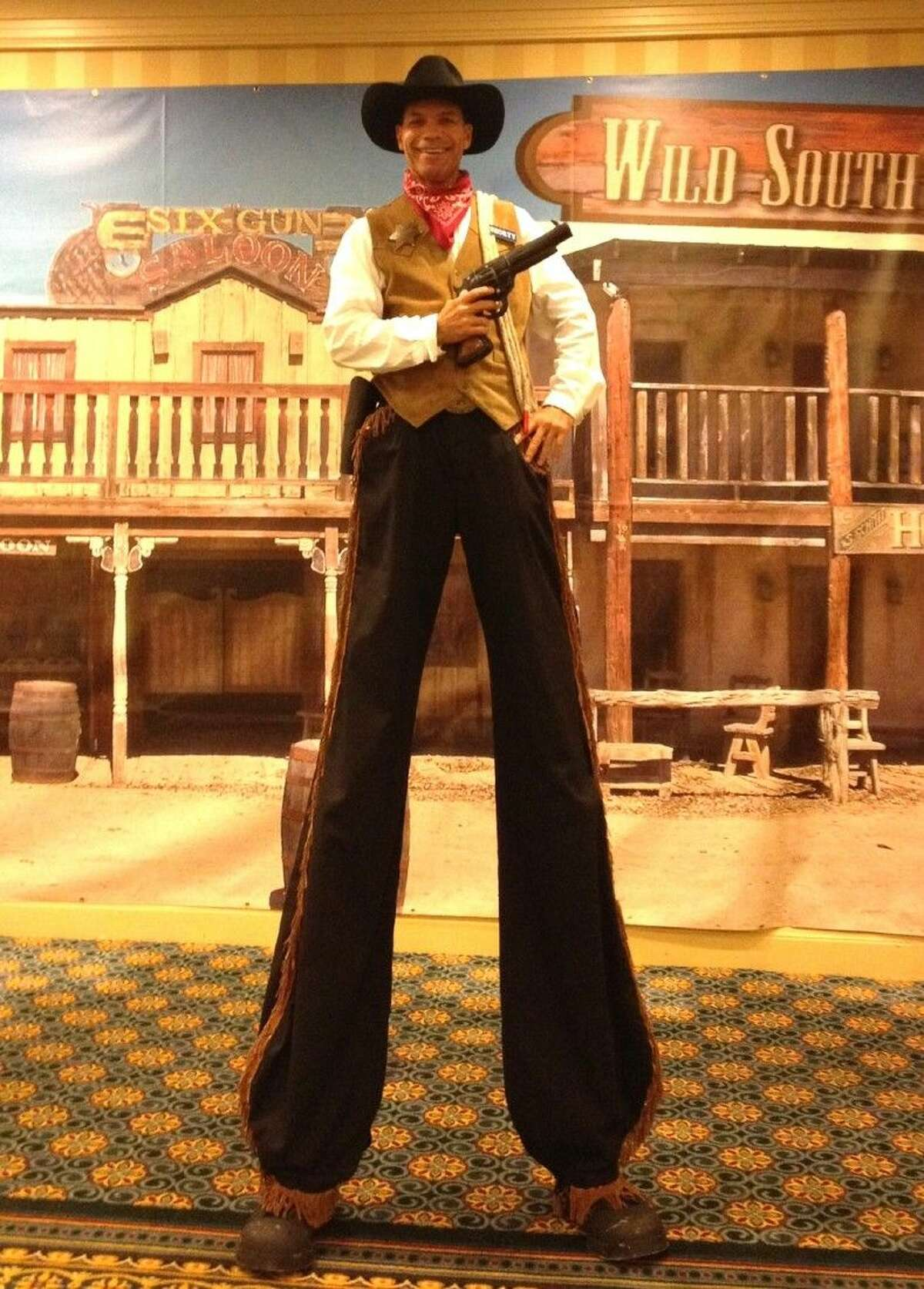 The larger-than-life Tall Texan cowboy will entertain guests with rope tricks and his ability to balance on stilts from 11 a.m. to noon on Go Texan Day at The Woodlands Children's Museum.