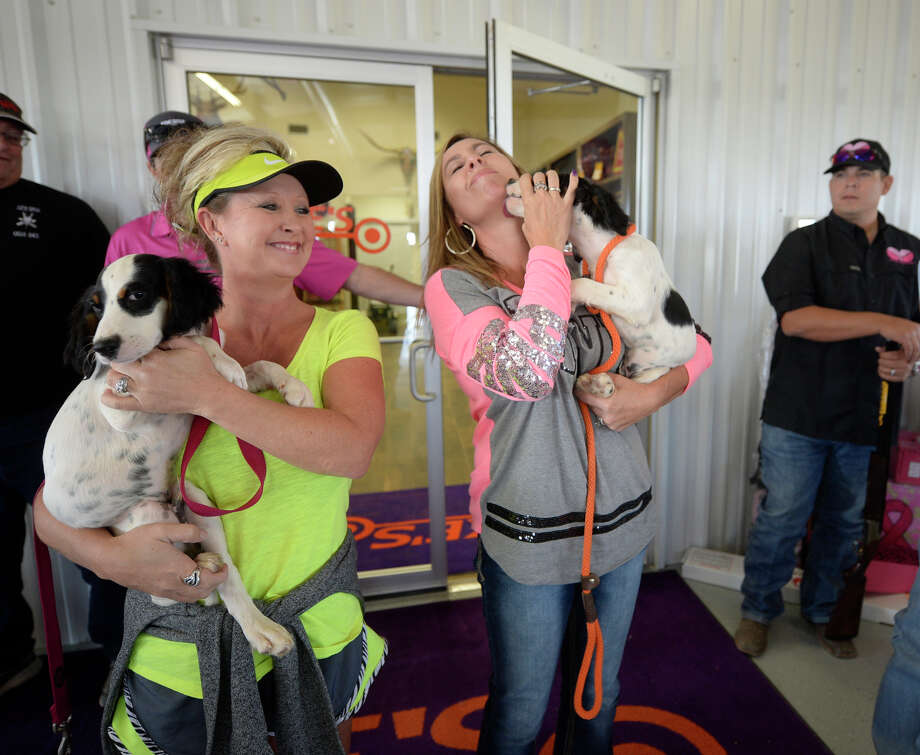 A purebred English Setter was auctioned during the Saving True Pairs clay shoot to benefit Pink The Basin on Friday, Oct. 16, 2015, at Jake's Clays. James Durbin/Reporter-Telegram Photo: James Durbin