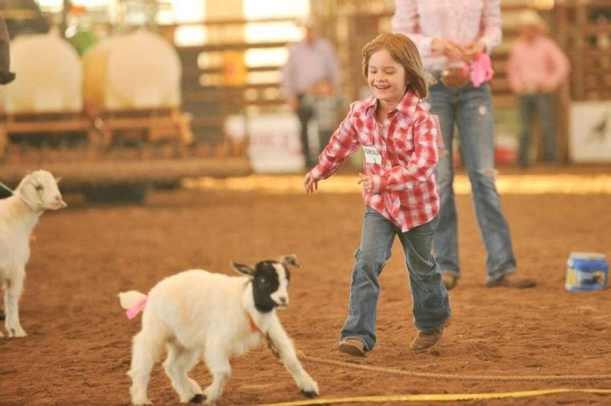 The Montgomery County Fair Association decided to add a new event this year to the youth rodeo events, the popular event that has children chasing goats and sheep around the rodeo arena April 4-5. Pictured above is a Montgomery County boy participating in the Goat Ribbon Pulling event.