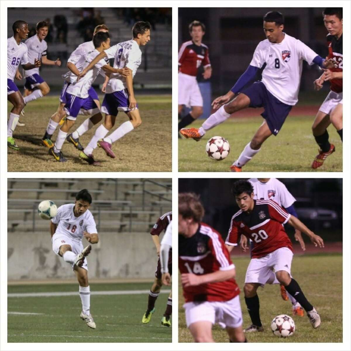 Clockwise, 17-5A boys' soccer playoff teams Jersey Village, Cy Springs, Cy Lakes and Langham Creek.