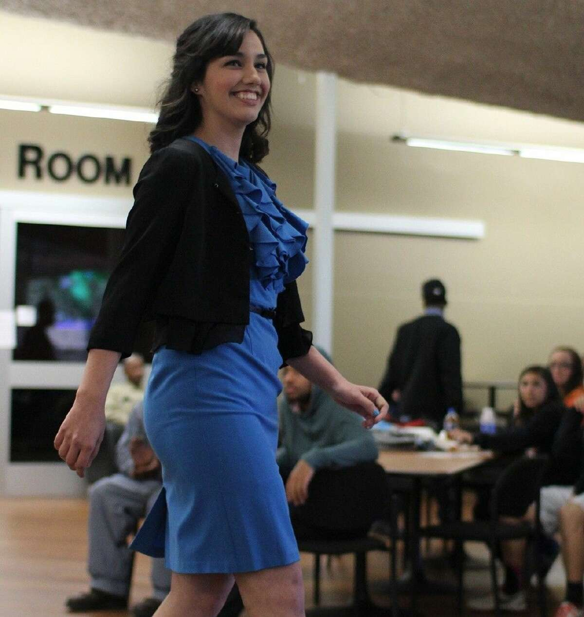 Student Marina Soliz, of Alvin, walks the runway during the ACC Fashion Show on February 26.