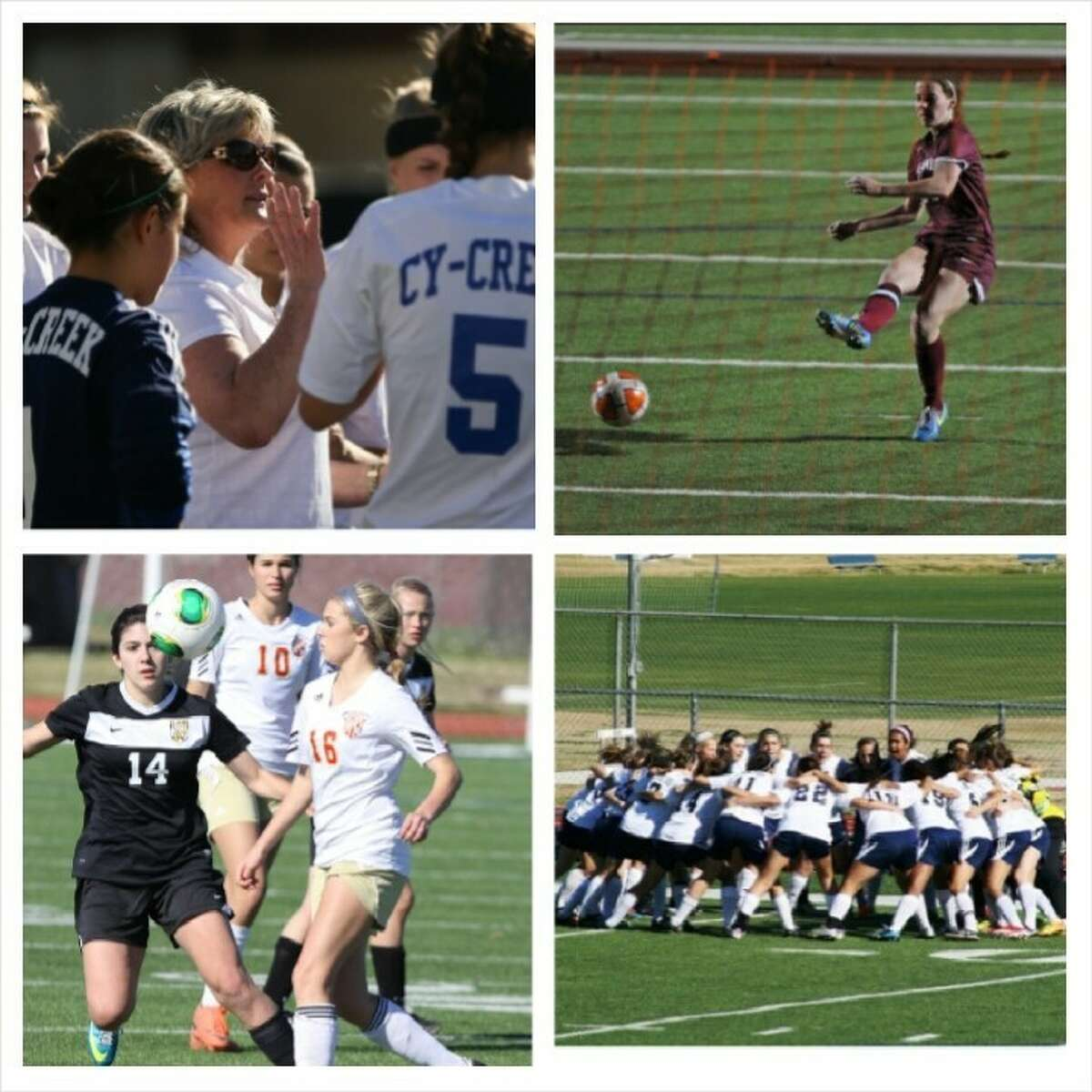 Clockwise, the 17-5A girls soccer playoff teams: Cy Creek, Cy-Fair, Cy Woods and Cy Ranch.