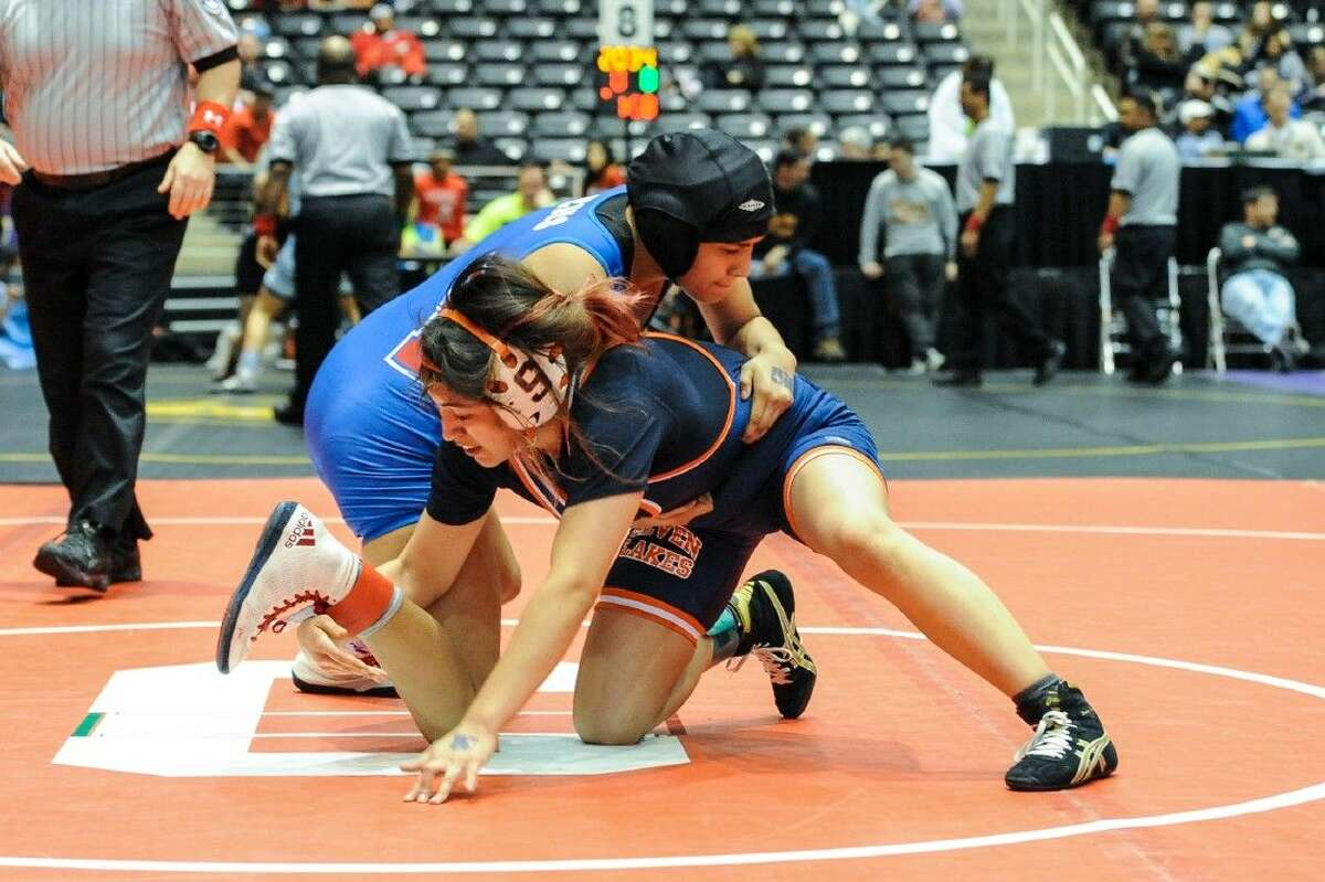 Seven Lakes' Jade Alexandre, pictured competing at the 2015 UIL state tournament, placed in the 119 bracket at the Cinco Ranch Big 12 Invitational, Cy Ridge Classic and The Woodlands Invitational.