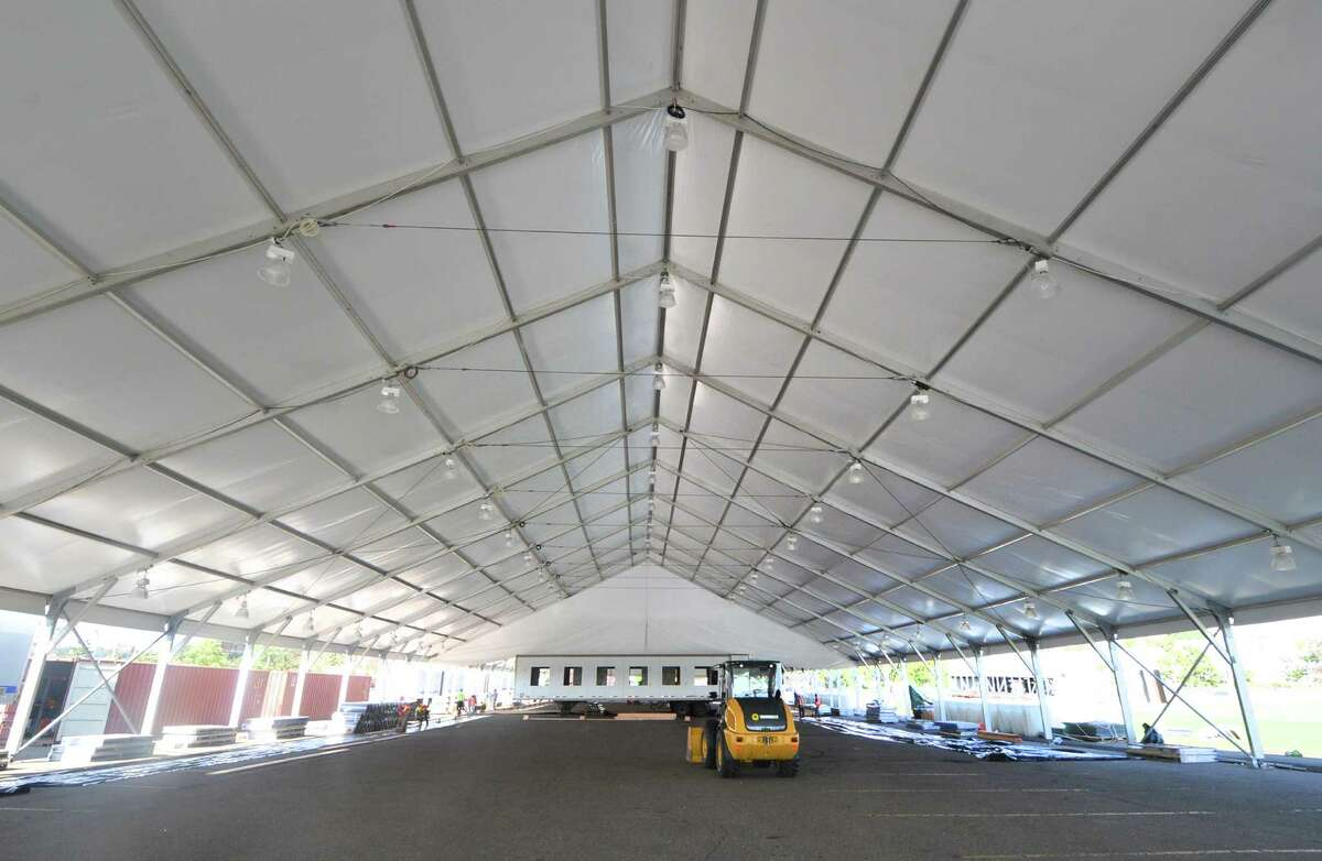 Interior of one of the sections of the installation of two regulation size ice rinks under the tent at Veterans Park on Monday October 3, 2016 in Norwalk Conn. The seasonal structure measures 100 X 400 Ft. The ice will be kept frozen by an electric chiller that will keep it at 21 degrees.