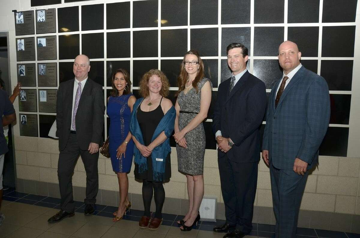 Six of the nine members of the inaugural Cypress Creek Wall of Honor class are inducted in March 2013. Pictured, from left, are Richard Stout, Rachel McNeill, Erin Christine Pettit, Ph.D., Katie (Dildy) Goossen, Dan Neil and Josh Williams. Also inducted were Paul Janish, Sam Adams and Nick Drago.