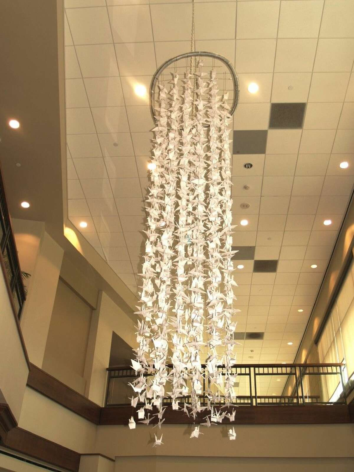The 1,000 Cranes art installation in on display at CHI St. Luke's at The Vintage.
