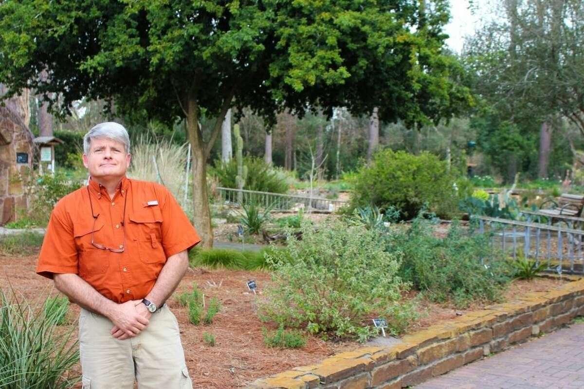 Presenter John Ross in the Endangered Species & Native Plant Garden at Mercer in Precinct 4.