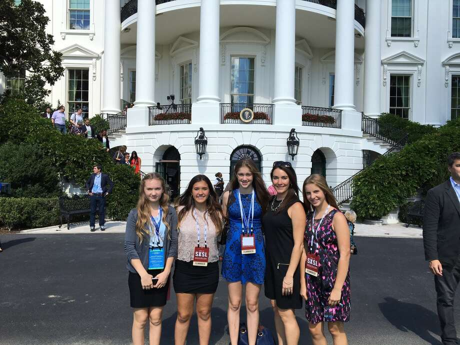 Breanne Pitt, Roxanne Edel, Sierra Wilson, Lydia Hagen and Kayleigh Hendy at the White House Monday. Photo: Contributed Photo