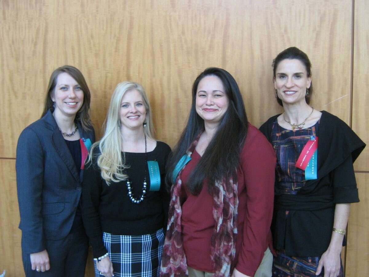 Congratulations to Lone Star College-CyFair's Faculty Excellence Award winners - Britney Jeffrey, who teaches English, Gail Marxhausen, who teaches Developmental English, Andrea Seay, who teaches in the Associate Degree Nursing program and Anne Damiecka, who teaches ESOL.