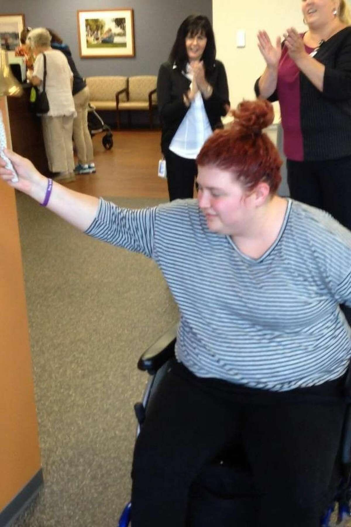Emily Bauer gets to ring the bell for having a great day in therapy. The Cypress teen almost lost her life after smoking synthetic marijuana.