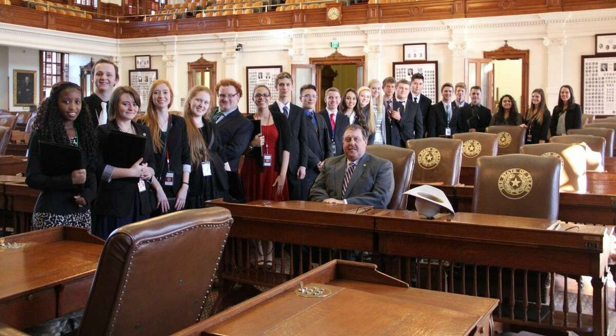 Magnolia ISD Student Leadership with Superintendent Dr. Todd Stephens and state Rep. Cecil Bell on the House of Representatives floor of the Capitol.