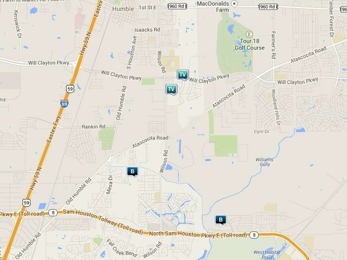 Law enforcement activity in the unincorporated Humble area March 21-27. Legend: B - burglary; V - stolen vehicle; TV - theft from vehicle (BMV).