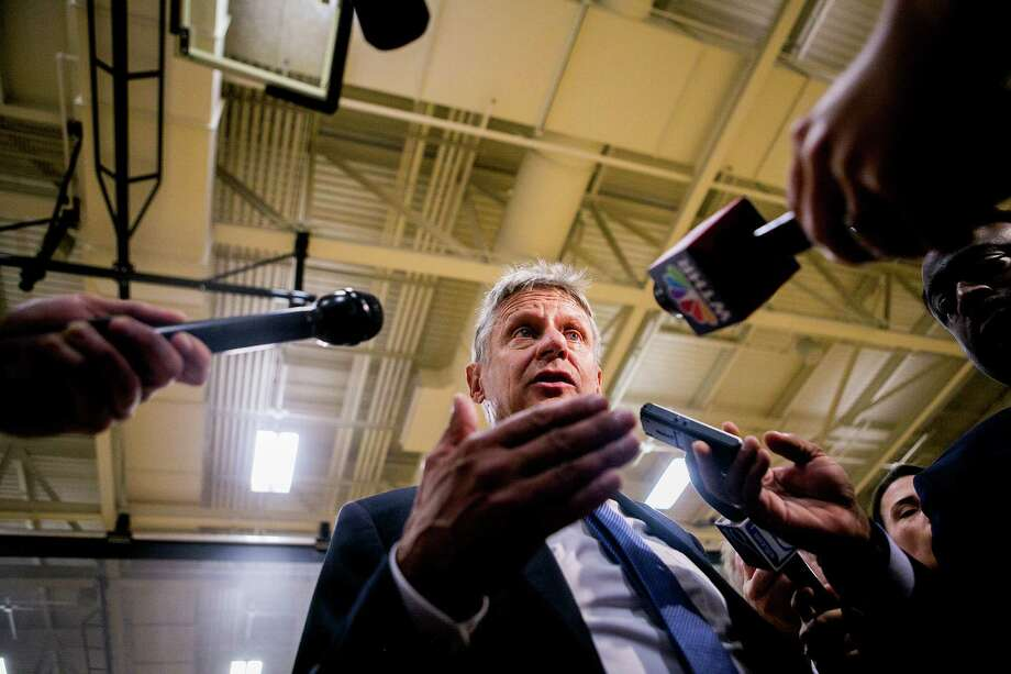 Libertarian presidential nominee Gary Johnson takes questions from reporters in West Lafayette, Ind. This year's third-party presidential candidates are unfit for the office. Photo: SAM HODGSON /NYT / NYTNS