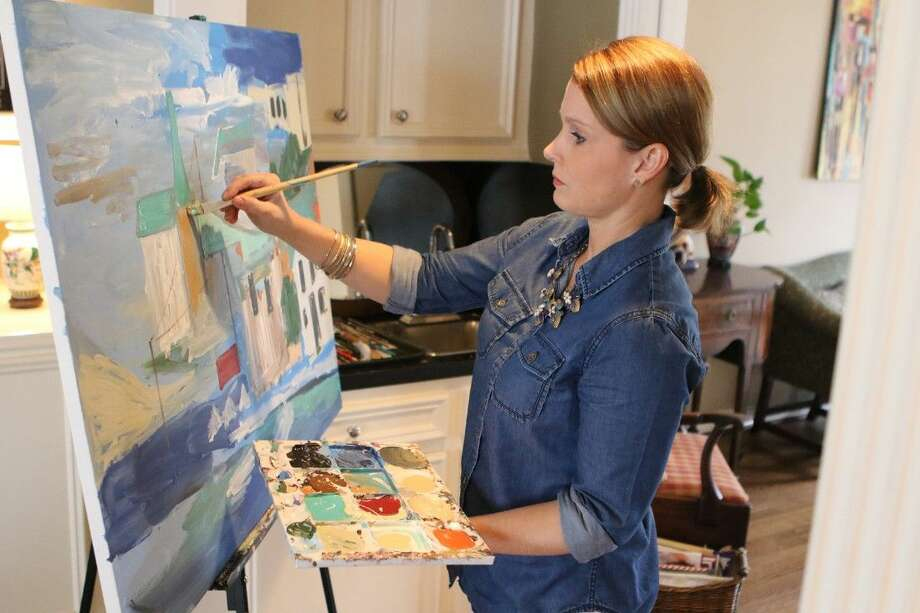Sarah Caton Wynne, acrylic artist, works on a painting in her home in Houston, Texas on Thursday, February 26, 2015. To view or purchase this photo and others like it, go to HCNPics.com. Photo: Staff Photo By Alan Warren