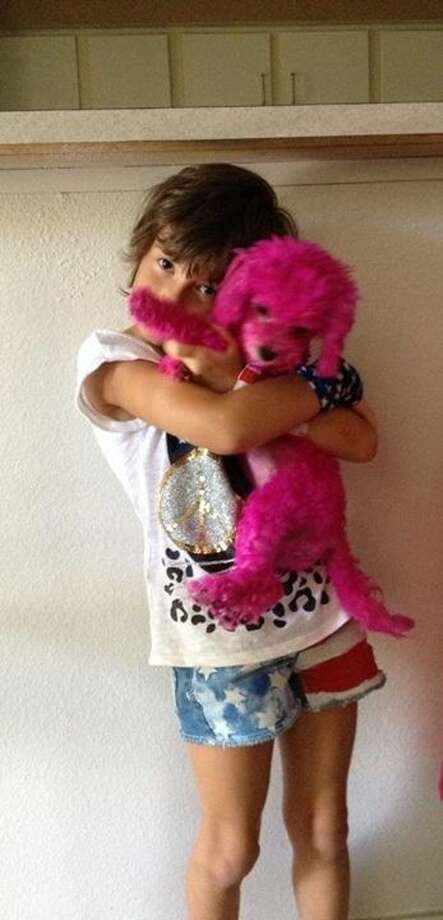 Alexandra's daughter holding their pink poodle.