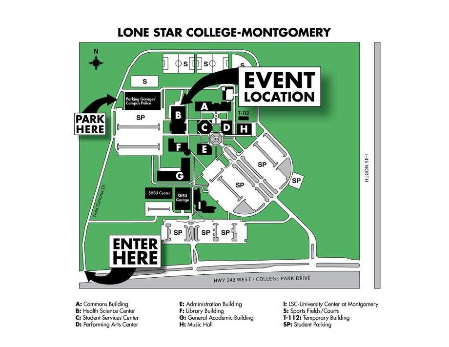 For easy access to Lone Star College-Montgomery¹s Maverick Mania 2015, held in the Health Science Center (Building B), attendees should enter campus via West Campus Drive and park in the college's west campus parking garage. Photo: Submitted