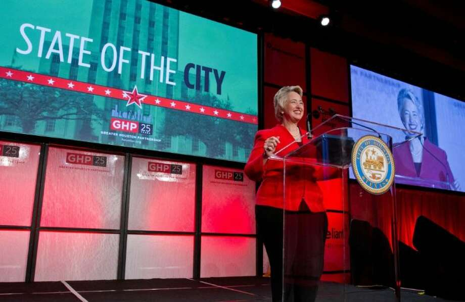 """We're doing it,"" Mayor Annise Parker said about ongoing work during her final term in office during the Greater Houston Partnership's State of the City luncheon on Thursday, April 3."