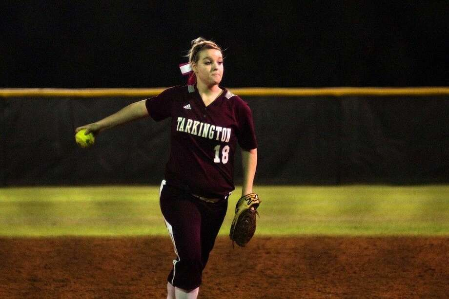 Brittney Fry pitched for the LadyHorns against Liberty Tuesday night, March 3, 2015. Tarkington won, 6-2.