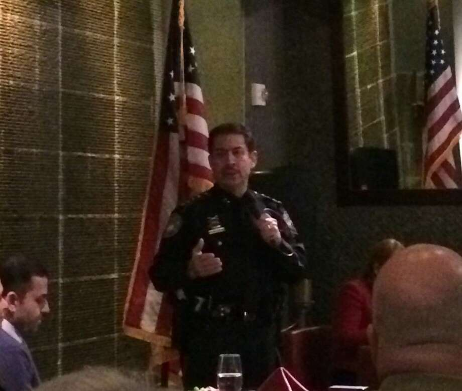 Harris County Sheriff Adrian Garcia speaks to the Montgomery County Hispanic Chamber of Commerce at Americas restaurant on The Woodlands Waterway, Tuesday, Feb. 24.