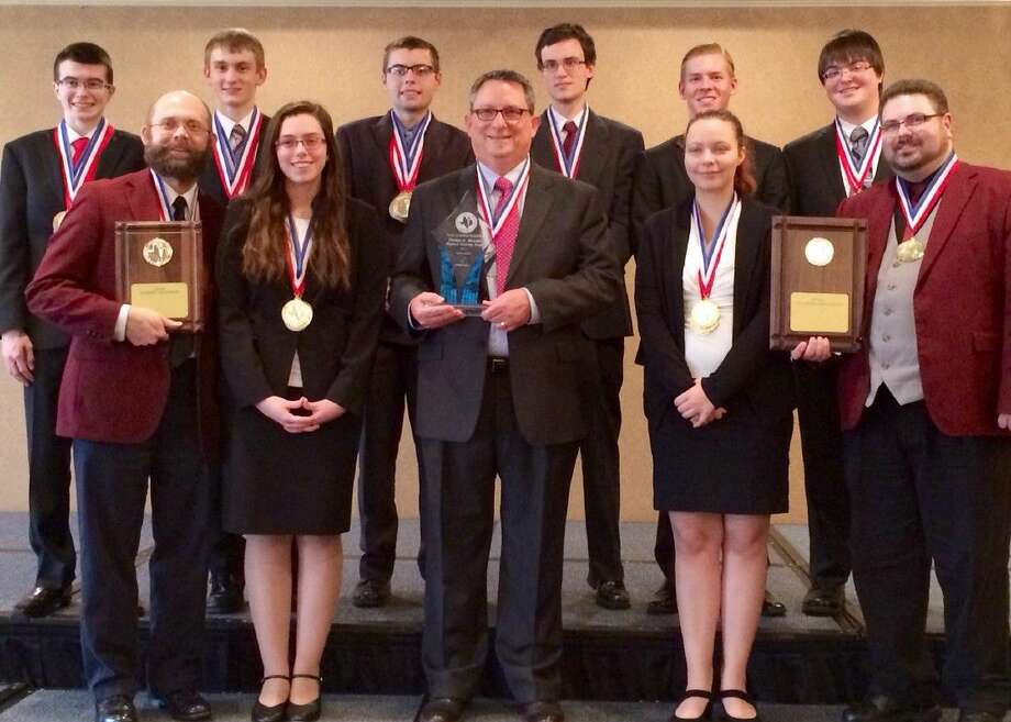 Pictured are Pearland High School Academic Decathlon members (from left) Ethan Arnold, Scott Crossno (coach), Micah Gautney, SaraBeth Matthews, Zachary Watson, Robert Layne (coach), Samuel Holmes, Garret Mattila, Savannah Segura, Dakota Dock and Corey Cogswell (coach). Not pictured is Jimmy Thai.