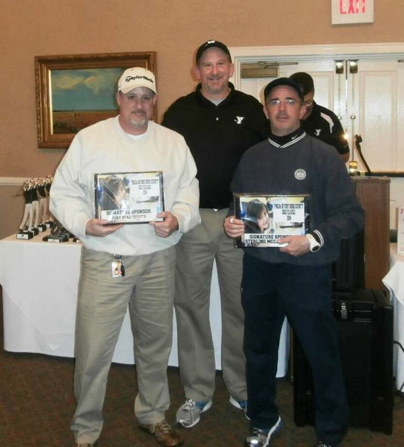 YMCA Golf supporters (from left to right) - Jeff Pasquale, Fort Bend Toyota sales manager; Charlie Myer, YMCA vice president.; and David Capin, Sterling McCall Lexus account manager. Photo: YMCAs Of Fort Bend County