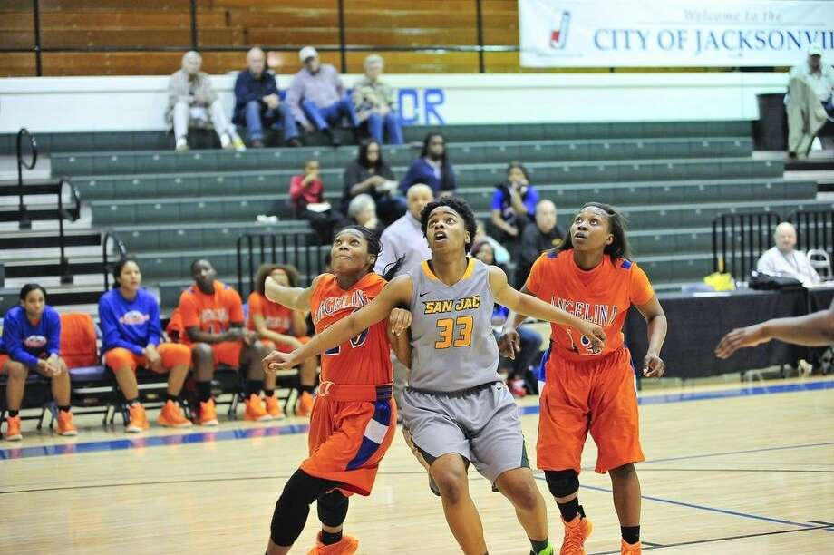 Freshman forward Kaelynn Wilson jostles for rebound position in San Jacinto College's Region XIV tournament win against Angelina College on Wednesday. Photo credit: Rob Vanya, San Jacinto College marketing, public relations, and government affairs department.