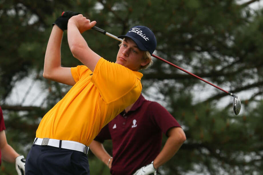 Cy Ranch's Kyle Hogan tees off during Day Two of the district tournament on Thursday at Cypress Lakes Golf Course. To view or purchase this photo and others like it, go to HCNPics.com. (Michael Minasi / HCN) Photo: Michael Minasi