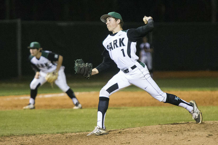 Kingwood Park's Jason Blanchard (1) pitches during Kingwood Park's 3-0 victory over Humble on March 3, 2015, at Kingwood Park High School. Photo: ANDREW BUCKLEY