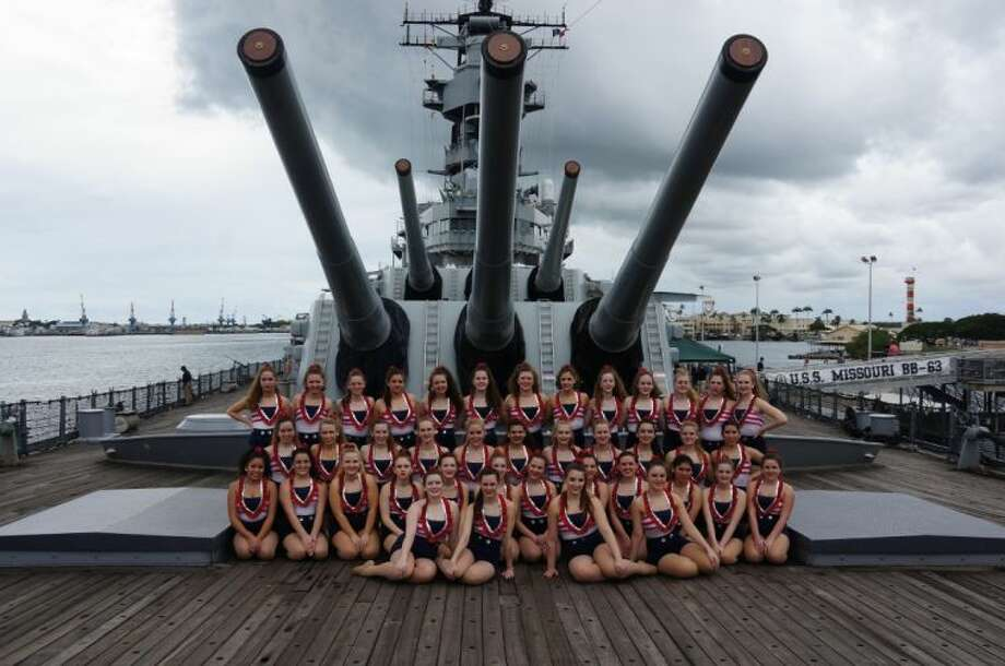 The Kingwood Park Silver Stars performed a dance routine on the platform of the USS Missouri, stationed in Pearl Harbor, Hawaii. Photo: Submitted Photo