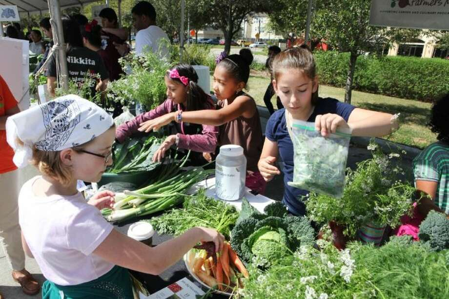 From left, Wilson Montessori students Shaun Wood, Galilea Rocha, Camera Lemons and Lara Manega work at their vegetable table at the HISD Whole Kids Farmers Market, held Saturday in the parking lot of Whole Foods on Waugh Drive in Montrose. Photo: Photo By Alan Warren