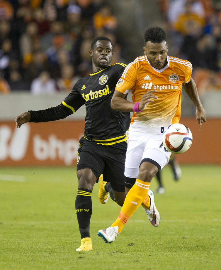 Houston Dynamo forward Giles Barnes breaks away toward the goal during an MLS soccer game against Columbus Crew Saturday. Barnes scored Houston's loan goal in the team's 1-0 win over Columbus Crew. Photo: Jason Fochtman