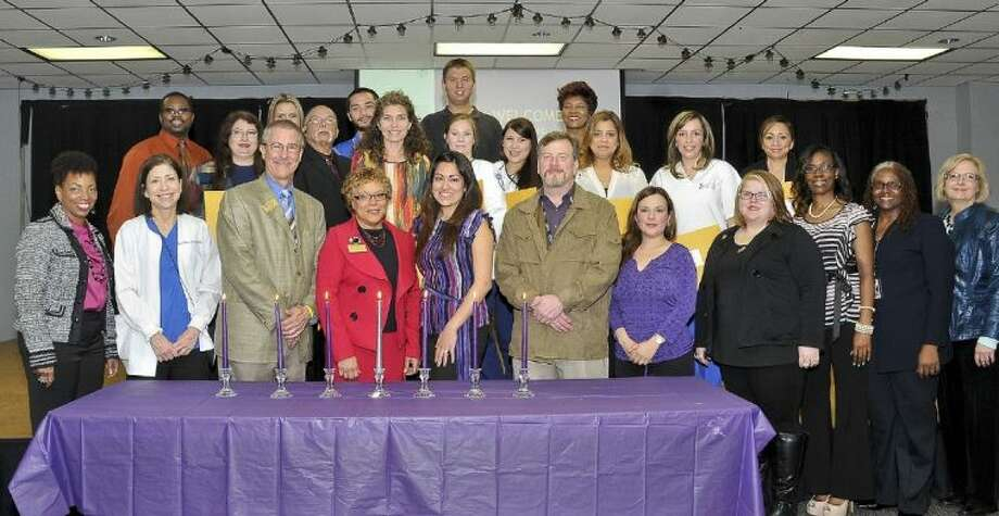 Spring 2014 inductees include: (pictured left to right) (Bottom row) Dr. Karen Alexander, San Jacinto College associate degree in nursing (ADN) mobility program director; Dora Martin, San Jacinto College nursing professor; Kevin Morris, San Jacinto College dean of business and technology; Dr. Brenda Jones, San Jacinto College provost; Diana Perez, San Jacinto College cosmetology instructor, Leslie Crnkovic, San Jacinto College non-destructive testing instructor; Elida Petkovich, San Jacinto College cosmetology professor; Amy Herrera, NTHS student president; Josephine West, San Jacinto College associate degree in nursing (ADN) mobility professor; and Shatoi Brown, San Jacinto College associate degree in nursing (ADN) mobility professor. (Second row) Sheldon Matthews, Evelyn Bravo, Martin Gonzales, Tricia Horbach, Katie Cannon, Diana Garcia, Slyvia Rodriguez, Maria Zarraga, and Darla Munoz. (Top row) Amanda Ihlenfield, Mark Navo, Brian Wagner, and Eleanor Phillips. Photo credit: Andrea Vasquez, San Jacinto College marketing, public relations, and government affairs department.