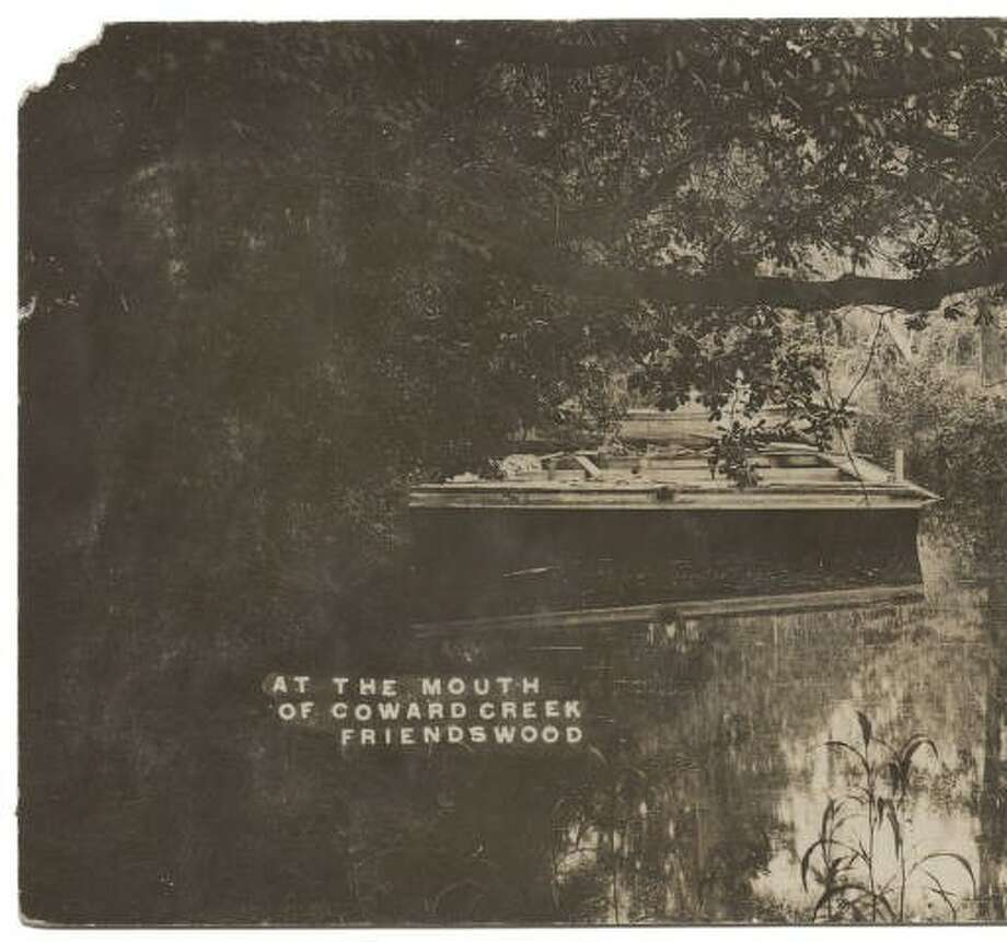 The Harvey Rice Barge, anchored in Cowards Creek, Friendswood, circa 1912.