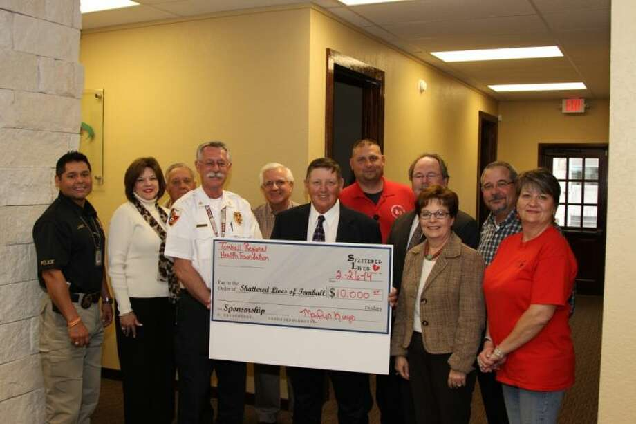 The Tomball Regional Foundation recently made a donation to the Shattered Lives Program of Tomball. Photo: Submitted