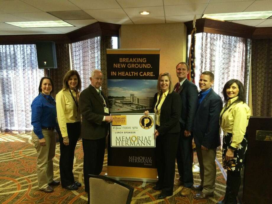 Memorial Hermann Southeast Hospital Director of Business Development Donna Coneley, Memorial Hermann Southeast Hospital Director of Physician Resources Rebecca Lilley, City of Pearland Mayor Tom Reid, Memorial Hermann Health System Director of Government Relations Ashlea Quinonez, Memorial Hermann Southwest Hospital Manager of Business Development Gerrit Von Wenckstern, Pearland Chamber of Commerce Vice President of Membership Development Jim Johnson and Pearland Chamber of Commerce President and CEO Carol Artz-Bucek at the Pearland Day in Austin 2015 luncheon, sponsored by Memorial Hermann.