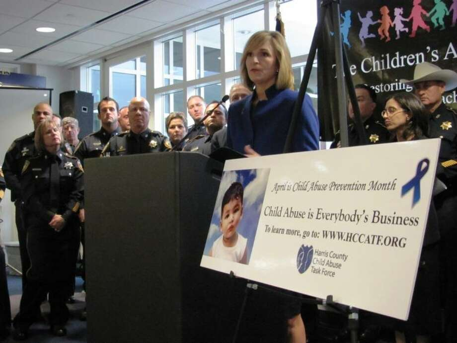 Harris County District Attorney Devon Anderson at the kick-off for Child Abuse Prevention Month.