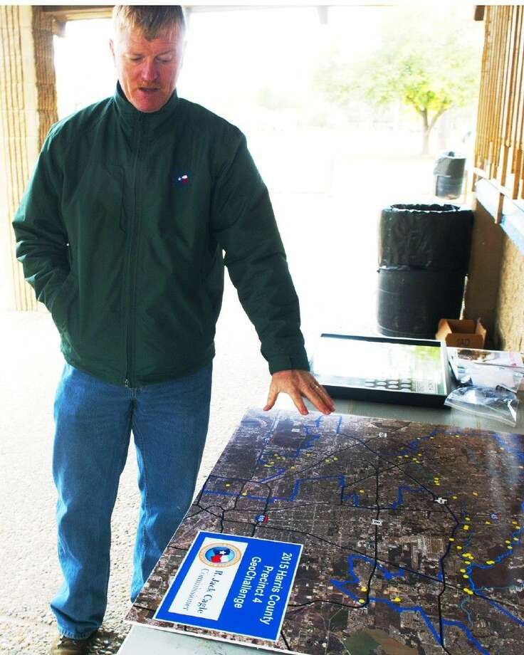 Mike Howlett talks about Geocaching at a public demonstration at Meyer Park on Thursday, March 5.