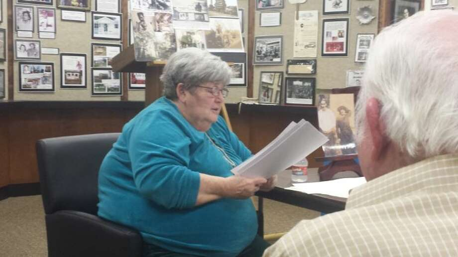 EMC Historical Society member Barbara Hamilton read the story of Bertie and Albert Collins to the members of the Cleveland Historical Society on March 27.