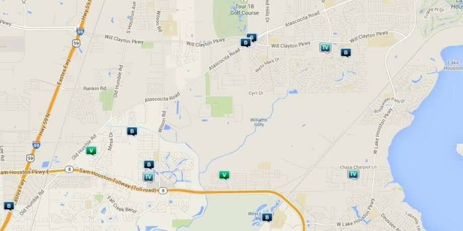 Law enforcement activity in the unincorporated Humble area March 28-April 3. Legend: B - burglary; V - stolen vehicle; TV - theft from vehicle (BMV) Photo: Map By Crimereports.com
