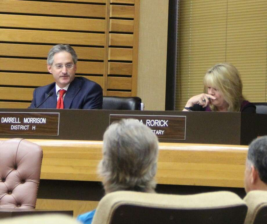 Councilmember Darrell Morrison spoke in support of a proposed low-income apartment complex for senior citizens to be built at the northeast corner of Space Center Blvd. and Genoa Red Bluff. Photo: Kristi Nix