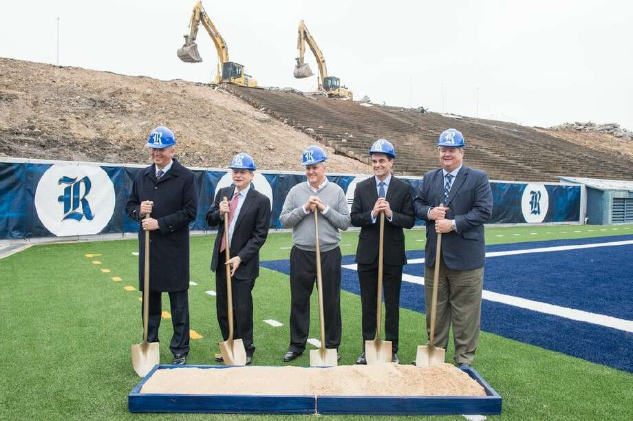 Rice University held a ceremonial groundbreaking Tuesday for the $31.5 million, 60,000-square-foot Brian Patterson Sports Performance Center. Photo: Jeff Fitlow