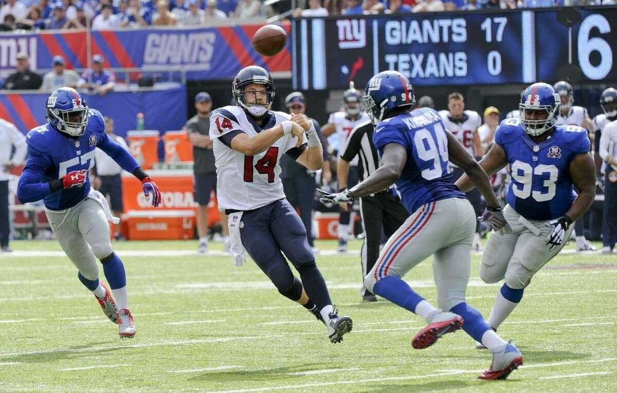 Texans quarterback Ryan Fitzpatrick threw three interceptions in the loss to the Giants.
