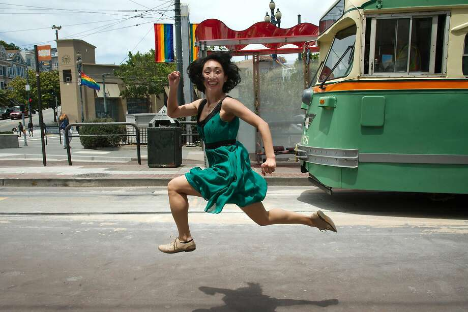 Marina Fukushima dances alongside the historic F-Market line. Photo: Andy Mogg, Andy Mogg / Courtesy Of Epiphany Productions