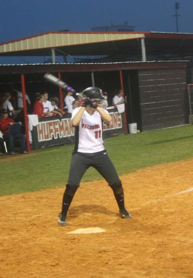 Kelsie McEacherin (11) steps up to the plate for the Huffman Lady Falcons. Photo: JACOB MCADAMS