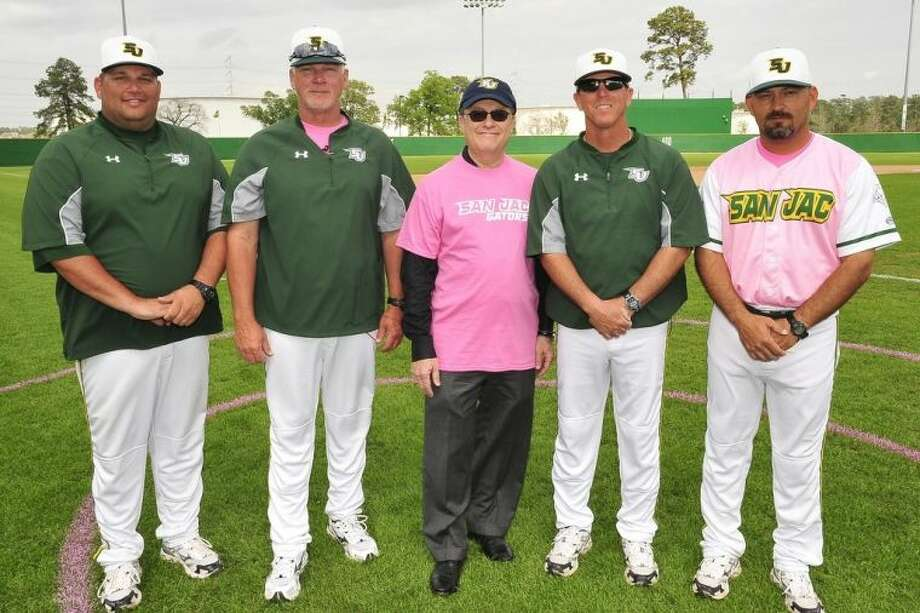 At the recent Play Pink fundraiser, David Lavine, board chairman of Angel Flight South Central (center), is shown flanked by San Jacinto College baseball coaches (from left) Kory Koehler, Tom Arrington (head coach), Jimmy Durham, and DJ Wilson. Photo credit: Rob Vanya, San Jacinto College marketing, public relations, and government affairs department.