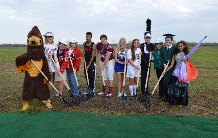 Pictured, from left to right, are Falcon Mascot Tessa Martin, Falcon Flair Maddie Kuczynski, Clear Lake HS Principal Debra Dixon, Clear Brook High School Principal Michele Staley, Brook Track Jamarco Stephen, Creek football Josh Mixon, Springs cheer Haley Kneupper, Falls soccer Maddie Huerta, Springs band Daniel Del Nero, Clear Falls High School Principal Karen Engle, Falls graduate Alex Petty and Creek Color Guard Nelly Rudd. Photo: Courtesy Clear Creek ISD
