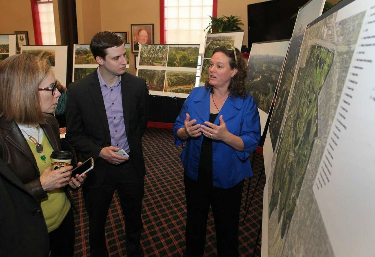Shellye Arnold, Executive Director, Memorial Park Conservancy, talks with media members about the Memorial Park Master Plan before it is presented to the Mayor and City Council for final approval during a press conference in Houston, Texas on Tuesday, March 10, 2015. To view or purchase this photo and others like it, go to HCNPics.com.